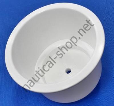 Подстаканник пластиковый врезной с дренажем, белый, 11789W1