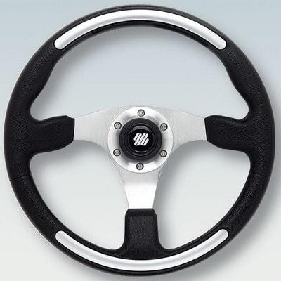 Полиуретановый руль SANTORINI B/S Ø 350 мм, черный/серебристый, 65995W
