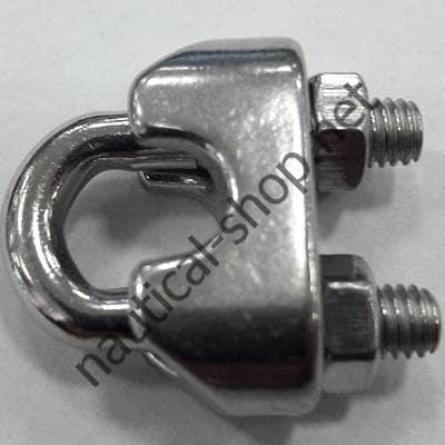 Зажим тросовый нержавеющий обжимной, на 7/8 мм, резьба М6, 04.181.04