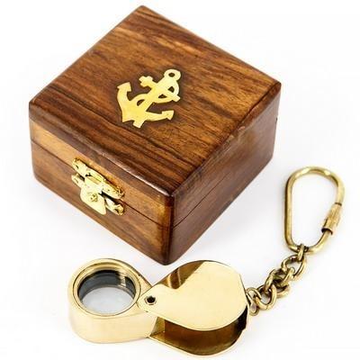"""Брелок латунный в деревянной коробочке """"ЛУПА"""", 033.L.A"""