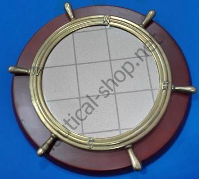 Зеркало в виде штурвала на деревянной основе, 2301S.L
