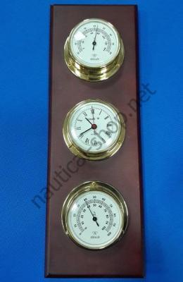 Комплект приборов на деревянной основе (термометр, гигрометр, часы), 2270.L