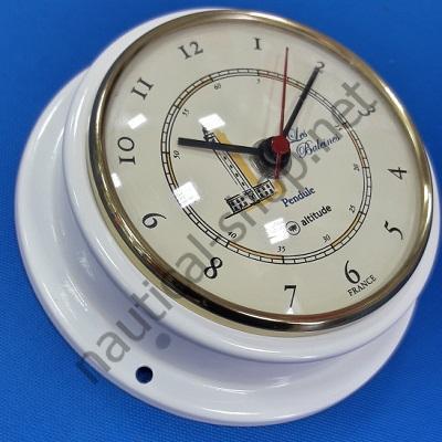 Часы кварцевые в латунном корпусе покрытым белой эмалью Ø 125 мм, 2518.BCO