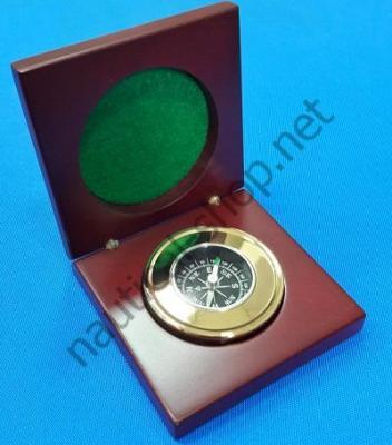 Латунный компас в деревянной декоративной коробочке, BOUS008