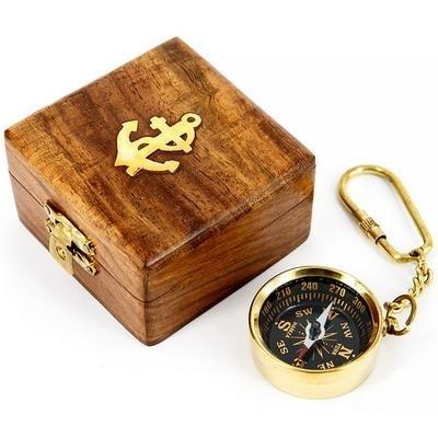 """Брелок латунный в деревянной коробочке """"КОМПАС"""", 023.L.A"""