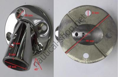Леерное основание 25 мм, круглое крепление, угол 45°, габаритные размеры, 41.127.01