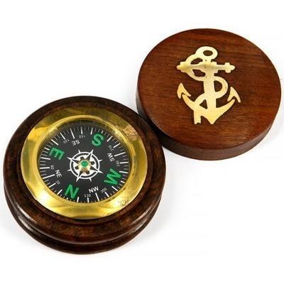 Компас карманный морской в деревянном корпусе, 2428