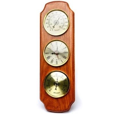 Комплект приборов на деревянной основе (термометр, гигрометр, часы), NI3713