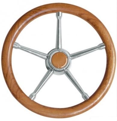 Рулевое колесо из натурального тикового дерева с нержавеющими спицами, 45.135.05