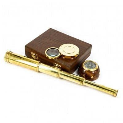 Подарочный набор в шкатулке: подзорная труба, компас, лупа, NT5273