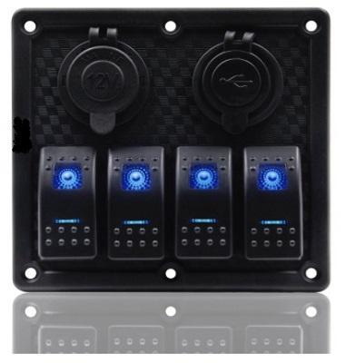 Панель управления на 4 клавишных выключателя с гнездом прикуривателя и гнездом USB на 2 порта, 50802-4HSU
