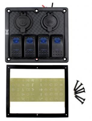 Высококачественная водонепроницаемая панель управления на 4 клавишных выключателя Marina-R, черный АБС пластик
