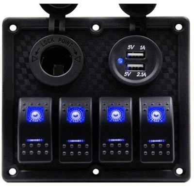 Панель управления на 4 клавишных выключателя с гнездом прикуривателя и гнездом USB на 2 порта, синяя LED подсветка, 50802-4HSU