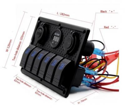 Габаритные размеры врезки панели управления на 6 клавишных выключателя с гнездом прикуривателя, гнездом USB на 2 порта и вольтметром