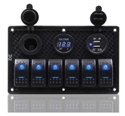 Панель управления на 6 клавишных выключателя с гнездом прикуривателя, гнездом USB на 2 порта и вольтметром, 50802-6HSVU