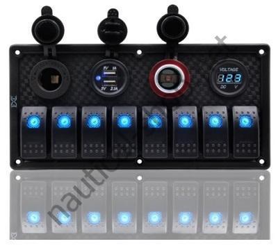 Панель управления на 8 клавишных выключателя с гнездом прикуривателя, гнездом USB на 2 порта и вольтметром, 50802-8HSUCV