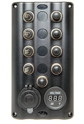 Панель управления Splash с подсветкой на 4 тумблера с гнездом прикуривателя и вольтметром, 50770-4S1S4