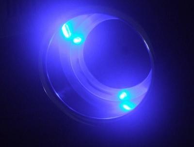 Подстаканник нержавеющий врезной с LED подсветкой синего цвета, 21208-1