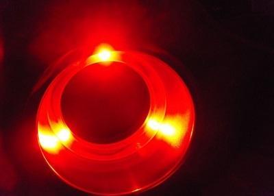 Подстаканник нержавеющий врезной с LED подсветкой красного цвета, 21208-2