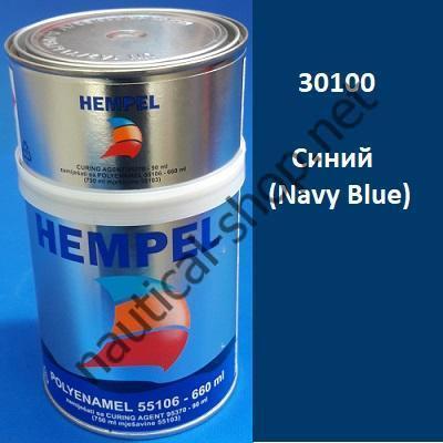 Краска полиуретановая двухкомпонентная POLY ENAMEL синий (0,75 л), 30100 HEMPEL
