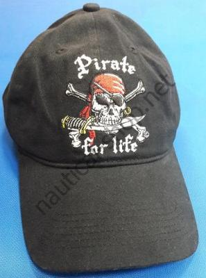 Бейсболка, кепка пиратская Pirate for Life, черная, 1808 Taylor Made (США)