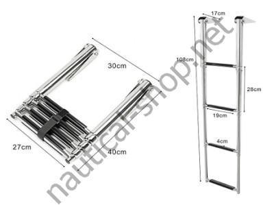 Трап-лестница телескопический для платформы 4 ступеньки с размерами, 49.541.04