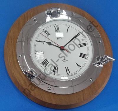 Кварцевые часы в виде иллюминатора на деревянной основе, 270 мм, 2084.C.TK, Foresti & Suardi