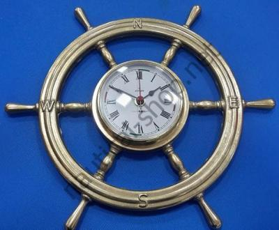 Часы в латунном штурвале, 320 мм диаметр, 2243.L, Foresti Suardi