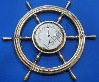 Гигрометр/Термометр в латунном штурвале, 320 мм в диаметре, 2245.L, Foresti Suardi