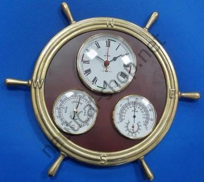 Набор приборов (часы, барометр, термометр и гигрометр) в штурвале на деревянной основе, 320 мм в диаметре, 2350.L, Foresti Suardi