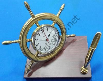 Настольный набор в морском стиле, с часами в штурвале, 2122.L, Foresti Suardi