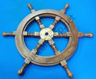 Лакированный деревянный декоративный штурвал 950 мм, BROU004, Azur Marine