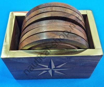 Набор деревянных подставок под стакан в коробке с латунным обрамлением и рисунком розы ветров, DECO220 Azur Marine