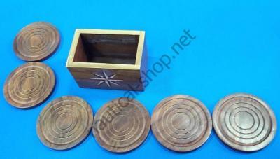 Набор из 6 деревянных подставок под стакан в коробке с морской тематикой, DECO220 Azur Marine