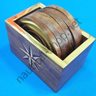 Набор деревянных подставок под стакан в морском стиле, DECO220 Azur Marine