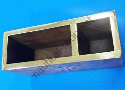 Деревянная подставка для ручек и визиток в морском стиле с латунной каймой, DECO222, Azur Marine (Франция)