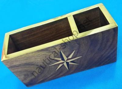 Подставка для ручек и визиток в морском стиле из твердой породы дерева, DECO222, Azur Marine (Франция)
