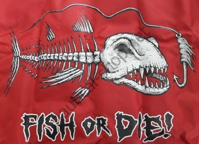 """Флаг """"FISH OR DIE"""" 30х45 см красный фон, 1629 Taylor Made (США)"""
