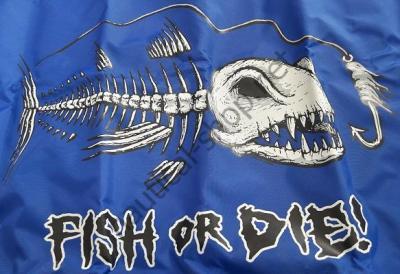 """Флаг """"FISH OR DIE"""" 30х45 см синий фон, 1629 Taylor Made (США)"""