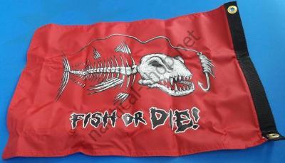 "Флаг пиратский ""FISH OR DIE"" 30х45 см на лодку, катер, 1629 Taylor Made (США)"