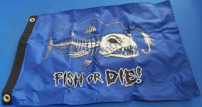 "Флаг на рыбалку ""FISH OR DIE"" 30х45 см в лодку, катер, 1629 Taylor Made (США)"