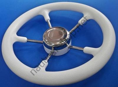 Пятиспицевый лодочный нержавеющий руль, покрытый белым полиуретаном, 350 мм, 45.133.35 Osculati (Италия)