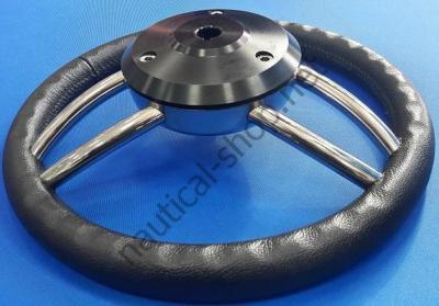 Руль лодочный Blitz, 350 мм, черный кожаный обод, каркас и спицы нержавеющие, 45.169.01 Osculati (Италия)