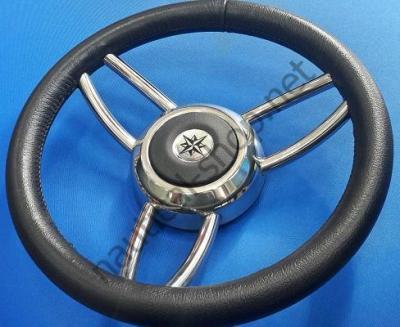 Рулевое лодочное колесо Blitz, 350 мм, черный обод, каркас и спицы нержавеющие, 45.169.01 Osculati (Италия)