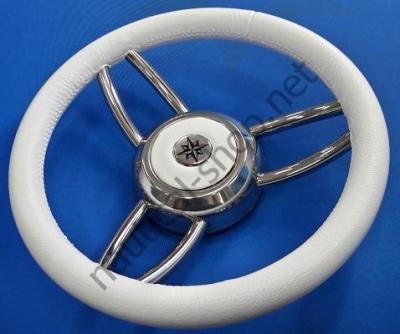 Рулевое лодочное колесо Blitz, 350 мм, кожа белого цвета, 45.169.03 Osculati (Италия)