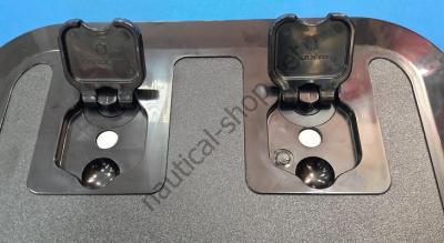 Инспекционный лодочный люк FLUSH черный 375х375 мм с петлями вровень с люком, 20.293.50 Osculati (Италия)