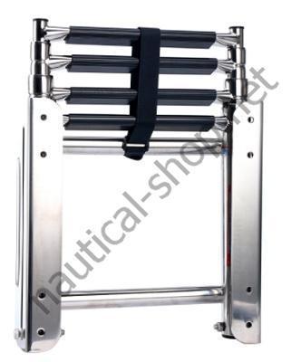Нержавеющая лодочная лестница трап с телескопической салазкой, 4 ступеньки, 49.543.04