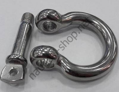 Подковообразная такелажная скоба 14 мм, нержавеющая сталь, разобранный вид, 08.421.14