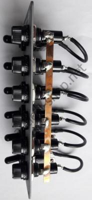 Электрический 12В щиток на 6 тумблеров без подсветки, вид сбоку, 14.701.00