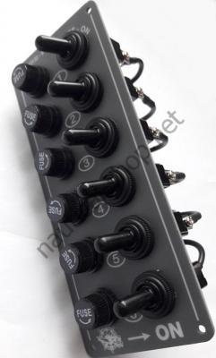 Электрический 12В щиток на 6 тумблеров без подсветки, 14.701.00